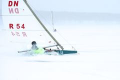 NOVOSIBIRSK,RUSSIA-DECEMBER21:Ice sailing on the frozen lake competition Stock Photo
