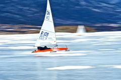 NOVOSIBIRSK,RUSSIA-DECEMBER21:Ice sailing on the frozen lake competition Royalty Free Stock Images