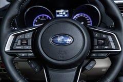 Novosibirsk, Russia - 4 dicembre 2018: entroterra nera di Subaru immagini stock libere da diritti