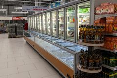 Novosibirsk, Russia - 08.12.2018: Grocery store showcases with r stock images