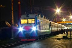 Locomotive or engine is a rail transport vehicle that provides the motive power for a train. Novosibirsk, Russia - July 20, 2018: locomotive or engine is a rail royalty free stock photo