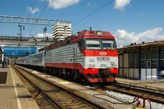 Locomotive or engine is a rail transport vehicle that provides the motive power for a train. Novosibirsk, Russia - July 20, 2018: locomotive or engine is a rail stock photos