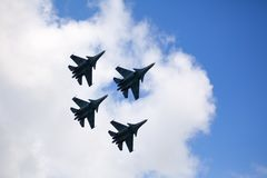 Mochishche airfield, local air show, Aerobatic team VKS `Russian Falcons` Su-30 SM, four russian fighter aircrafts in the sky. Novosibirsk, Russia, July 31, 2016 stock photos