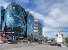 Business center Bud and Chapel of St. Nicholas in Novosibirsk, Siberia. Russia Stock Photos