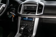 Novosibirsk, Russia June 28, 2019: Chevrolet Captiva. Novosibirsk, Russia – June 28, 2019: Chevrolet Captiva, close-up of the dashboard, adjustment of the stock photography
