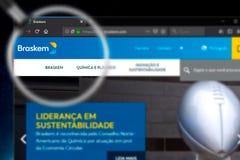 Novosibirsk, Russia - June 18, 2019 - Illustrative Editorial of Braskem SA website homepage. Braskem SA logo visible on display. Screen stock photos
