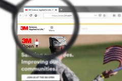 Novosibirsk, Russia - June 15, 2019 - Illustrative Editorial of 3M Company website homepage. 3M Company logo visible on display. Screen royalty free stock photography