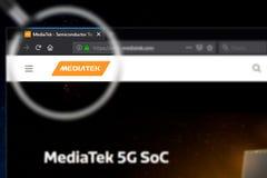 Novosibirsk, Russia - June 18, 2019 - Illustrative Editorial of MediaTek website homepage. MediaTek logo visible on display screen.  royalty free stock photos