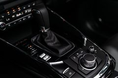 Novosibirsk, Russia June 28, 2019: Mazda CX-9. Novosibirsk, Russia – June 28, 2019:  Mazda CX-9,  close-up of the accelerator handle and buttons stock images