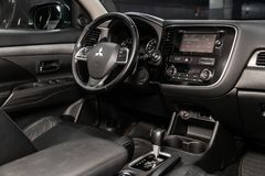 Novosibirsk, Russia June 22, 2019: Mitsubishi Outlander. Novosibirsk, Russia – June 22, 2019: Mitsubishi Outlander, close-up of the dashboard, player royalty free stock photography