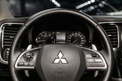 Novosibirsk, Russia June 22, 2019: Mitsubishi Outlander. Novosibirsk, Russia – June 22, 2019:  Mitsubishi Outlander, close-up of the dashboard stock image