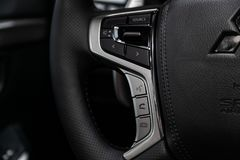 Novosibirsk, Russia June 30, 2019: Mitsubishi Pajero sport. Novosibirsk, Russia – June 30, 2019:  Mitsubishi Pajero Sport, Car controller on steerling stock image