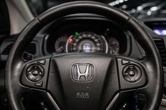 Novosibirsk, Russia June 22, 2019. Novosibirsk, Russia – June 22, 2019:  Honda CR-V, close-up of the dashboard, speedometer, tachometer and steering wheel royalty free stock photo