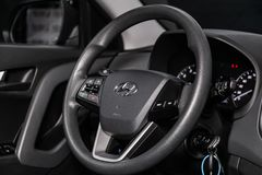 Novosibirsk, Russia June 22, 2019. Novosibirsk, Russia – June 22, 2019:  Hyundai Creta, close-up of the dashboard, speedometer, tachometer and steering royalty free stock image