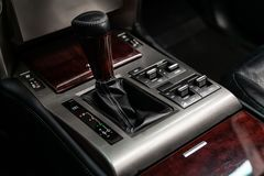 Novosibirsk, Russia June 22, 2019. Novosibirsk, Russia – June 22, 2019:  LEXUS GX 460, close-up of the accelerator handle and buttons. automatic stock photo