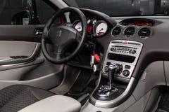 Novosibirsk, Russia June 28, 2019: Peugeot 308. Novosibirsk, Russia – June 28, 2019: Peugeot 308,close-up of the dashboard, steering wheel, accelerator stock image