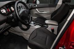 Novosibirsk, Russia June 28, 2019: Peugeot 308. Novosibirsk, Russia – June 28, 2019: Peugeot 308,close-up of the dashboard, steering wheel, accelerator stock photo