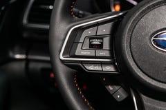 Novosibirsk, Russia June 30, 2019: Subaru XV. Novosibirsk, Russia – June 30, 2019:  Subaru XV, Car controller on steerling wheel ,Music,Control System royalty free stock photo