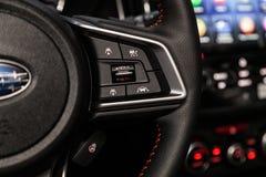 Novosibirsk, Russia June 30, 2019: Subaru XV. Novosibirsk, Russia – June 30, 2019:  Subaru XV, Car controller on steerling wheel ,Music,Control System royalty free stock image