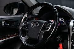 Novosibirsk, Russia June 22, 2019: Toyota Camry. Novosibirsk, Russia – June 22, 2019:  Toyota  Camry,close-up of the dashboard, speedometer, tachometer stock image