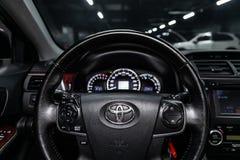Novosibirsk, Russia June 22, 2019: Toyota Camry. Novosibirsk, Russia – June 22, 2019:  Toyota  Camry,close-up of the dashboard, speedometer, tachometer royalty free stock photo