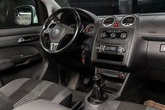 Novosibirsk, Russia June 22, 2019: Volkswagen Caddy. Novosibirsk, Russia – June 22, 2019: Volkswagen Caddy,close-up of the dashboard, player, steering royalty free stock image