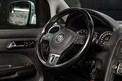 Novosibirsk, Russia June 22, 2019: Volkswagen Caddy. Novosibirsk, Russia – June 22, 2019:  Volkswagen Caddy,close-up of the dashboard, speedometer royalty free stock photo