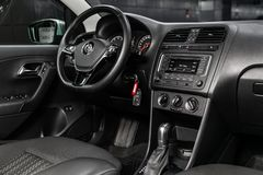Novosibirsk, Russia June 28, 2019: Volkswagen Polo. Novosibirsk, Russia – June 28, 2019: Volkswagen Polo, close-up of the dashboard, player, steering stock photography