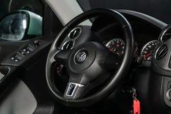 Novosibirsk, Russia June 11, 2019: Volkswagen Tiguan. Novosibirsk, Russia – June 11, 2019:  Volkswagen Tiguan, close-up of the dashboard, speedometer royalty free stock image