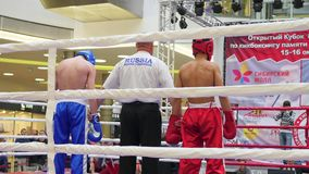 NOVOSIBIRSK, RUSSIA - October 15,2016: the tournament in kickboxing in the ring stock footage