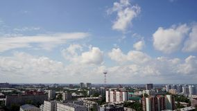 NOVOSIBIRSK, RUSSIA - View of Novosibirsk city. Timelapse 4. NOVOSIBIRSK, RUSSIA - View of Novosibirsk city center. Panorama of busuness city. Summer cityscape stock video footage