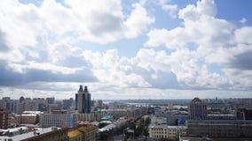 NOVOSIBIRSK, RUSSIA - View of Novosibirsk city. Timelapse 6. NOVOSIBIRSK, RUSSIA - View of Novosibirsk city center. Panorama of busuness city. Summer cityscape stock video