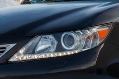 Novosibirsk, Russie - 12 01 2018 : Libération noire de Lexus ES250 2014 avec un moteur de 2 5 litres de plan rapproché de vue ava photographie stock