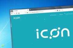 Novosibirsk, Russie - 12 mai 2018 - page d'accueil de cryptocurrency d'icône sur le PC, adresse de Web - icône Base images libres de droits
