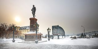 The monument to Russian Emperor Alexander the third. Novosibirsk. Novosibirsk, Siberia, Russia - Feb 4, 2018: the Monument to Russian Emperor Alexander III on royalty free stock image