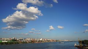 Novosibirsk, Siberia, Russia - view of the Ob river. A beautiful summer day stock video