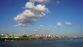 Novosibirsk, Siberia, Russia - view of the Ob river. A beautiful summer day. Panoramic movement of the camera stock video footage