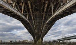 Novosibirsk sotto il ponte Fotografia Stock Libera da Diritti