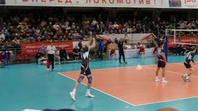 10.14.2017 Novosibirsk, the Volleyball teams match. The player gives the ball. HD, 1920x1080. slow motion. stock video