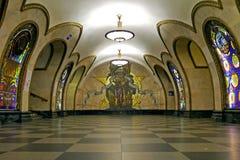 Novoslobodskaya地铁站在莫斯科,俄罗斯 库存照片
