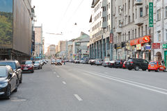 Novoslobodskaya Street, Moscow in workday evening. MOSCOW, RUSSIA - JUNE 3, 2014: view of Novoslobodskaya Street in Moscow, Russia in workday evening Stock Photography