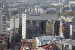 Novotel hotel in Bucharest. BUCHAREST, ROMANIA - October 29, 2018: Novotel hotel in Bucharest, seen from above stock photos