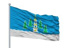 Novouralsk City Flag On Flagpole, Russia, Sverdlovsk Oblast 2010, Isolated On White Background. Novouralsk City Flag On Flagpole, Country Russia, Sverdlovsk vector illustration
