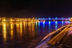 Novovolzhsky bridge and embankment of Afanasy Nikitin night in T Stock Photography