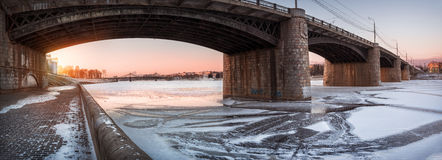 Novovolzhsky bridge. Over the icebound Volga Royalty Free Stock Photos