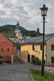 Novozamocka gata på Banska Stiavnica Arkivbilder