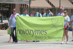 Novozymes Banner in parade in small town America Stock Photography