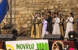 Novruz Bayram wakacje w kapitale republika Azerbejdżan w mieście Baku 22 Marzec 2017 Zdjęcie Stock