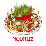 Novruz tray with sweets and candles. Royalty Free Stock Photo