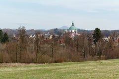 Novy Falkenburk castle in Jablonne v Podjestedi and Jested Tower in Liberec, Czech Republic Stock Image